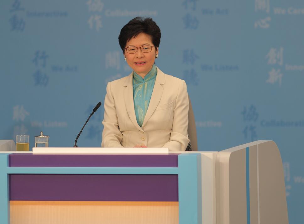 林鄭月娥表示「明日大嶼」計劃是由規劃部門以科學方法擬定(大文全媒體記者麥鈞傑攝)