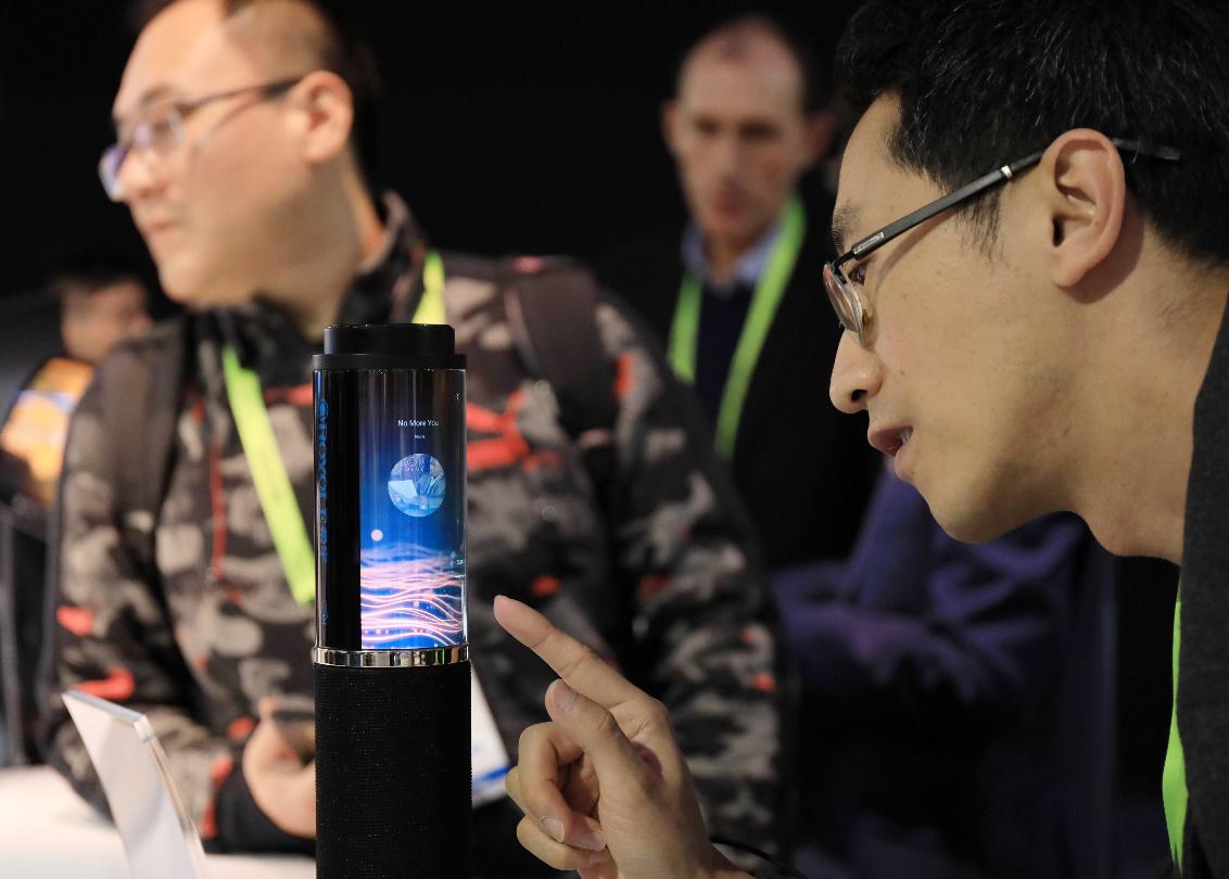 集成柔性顯示屏的智能音箱首次公開亮相 受訪者提供