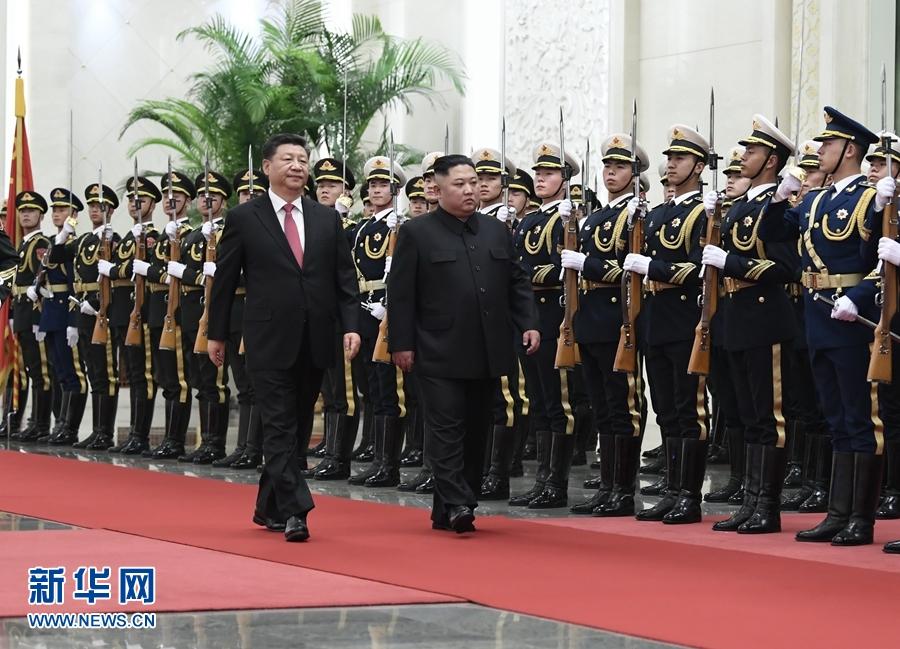 1月8日,中共中央總書記、國家主席習近平同當日抵京的朝鮮勞動黨委員長、國務委員會委員長金正恩舉行會談。會談前,習近平在人民大會堂北大廳為金正恩舉行歡迎儀式。
