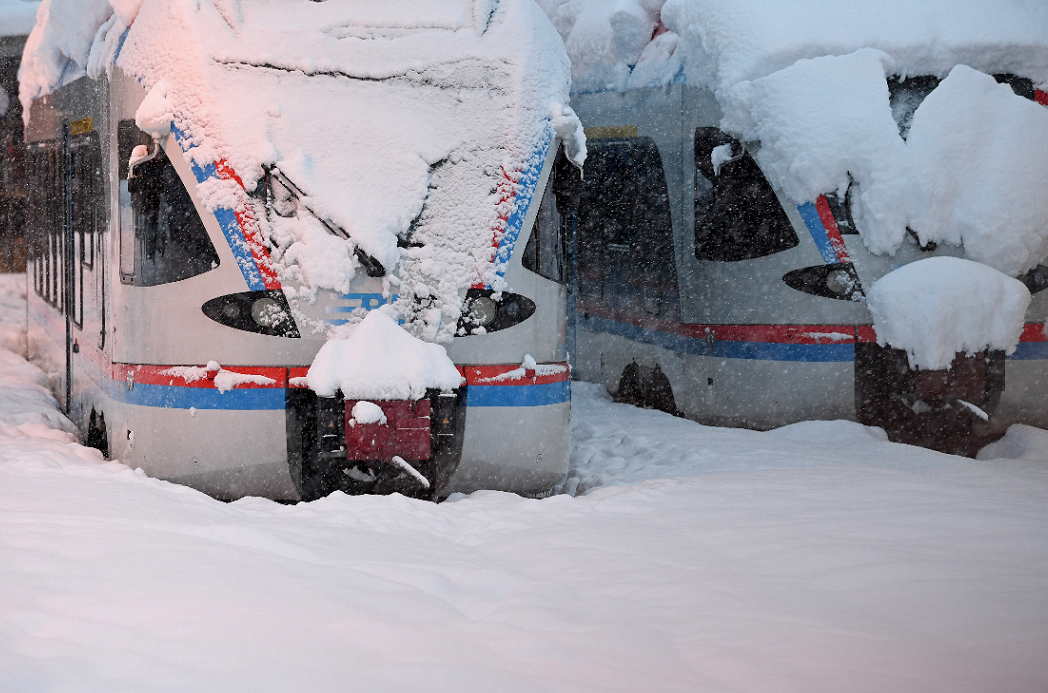 德國的兩輛火車被雪覆蓋。(路透社)