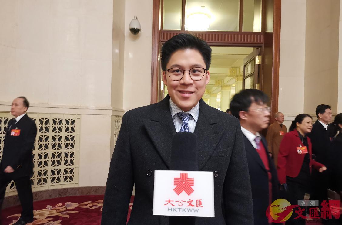 全國政協委員、香港青年聯會主席霍啟剛(大公文匯全媒體記者謝光輝攝)