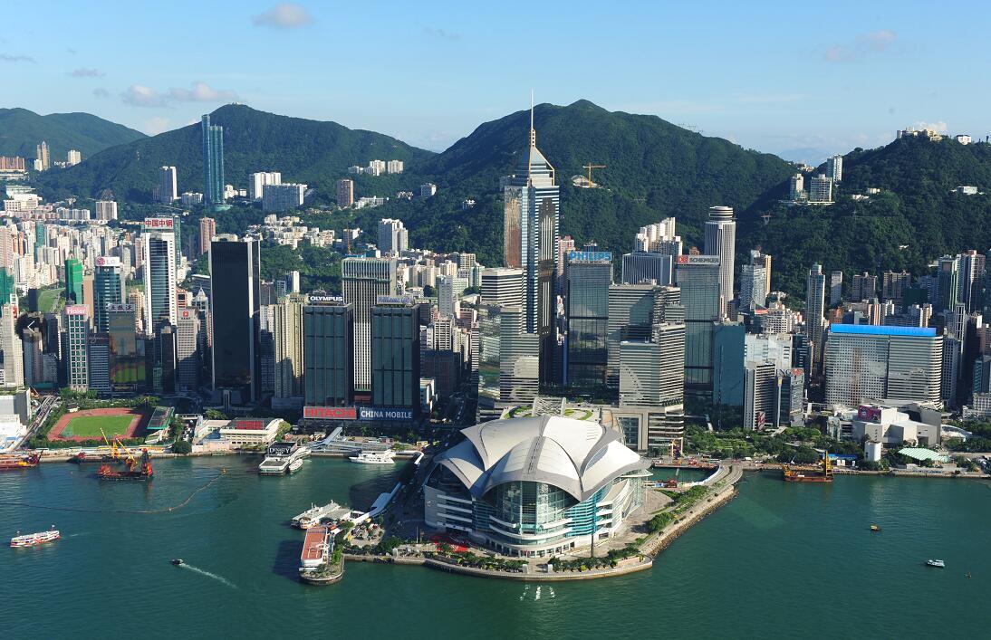 港府14日表示,外國政府不應以任何形式干預香港特別行政區的內部事務。圖為香港灣仔會議展覽中心(資料圖片)