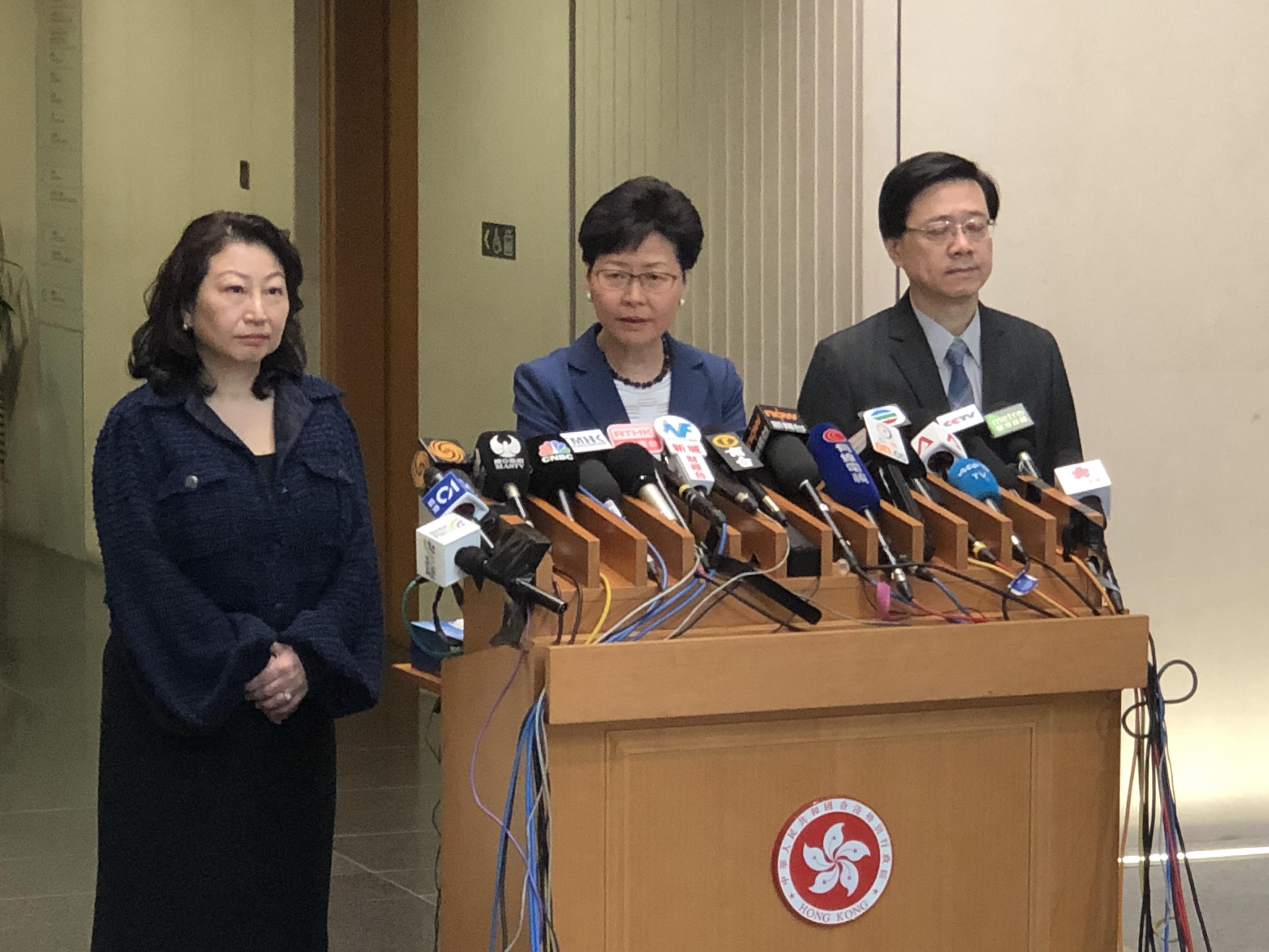 林鄭月娥表示,從4方面加強回應社會對修訂逃犯條例的憂慮。(全媒體記者陳旭健攝)