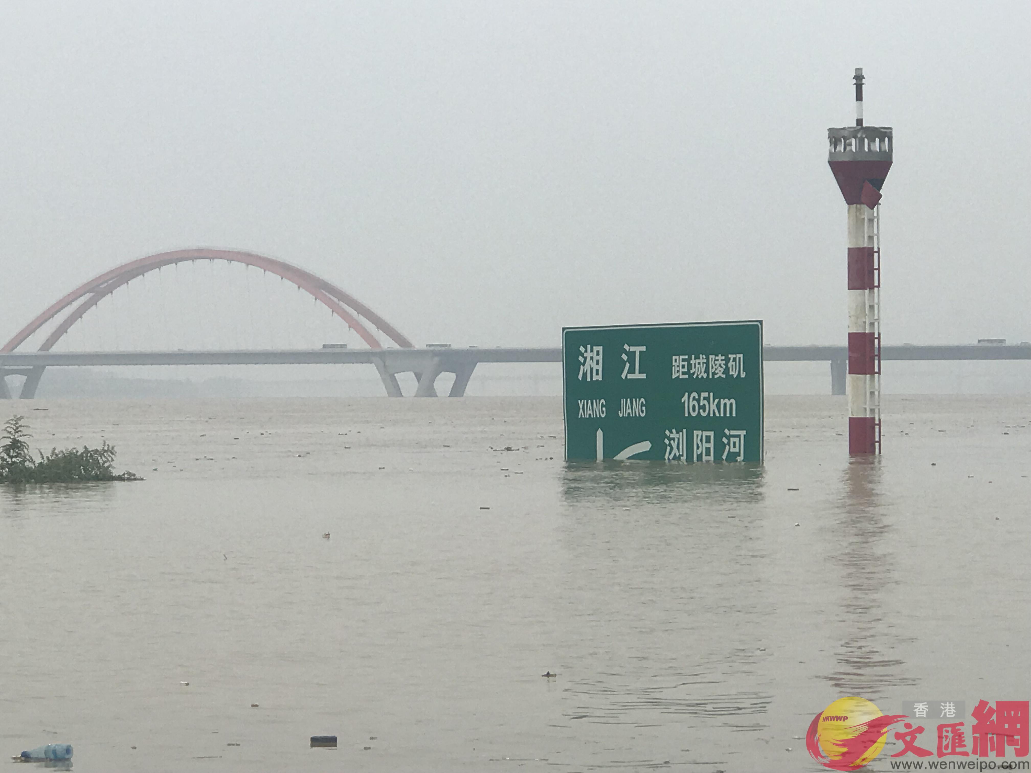 長沙新河三角洲的濱江文化園,沿江道路上的指示路牌被江水淹沒了三分之二。(湖南姚進 攝)