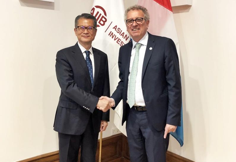 陳茂波昨與盧森堡財政部長皮埃爾•格拉美亞會面(政府新聞處)