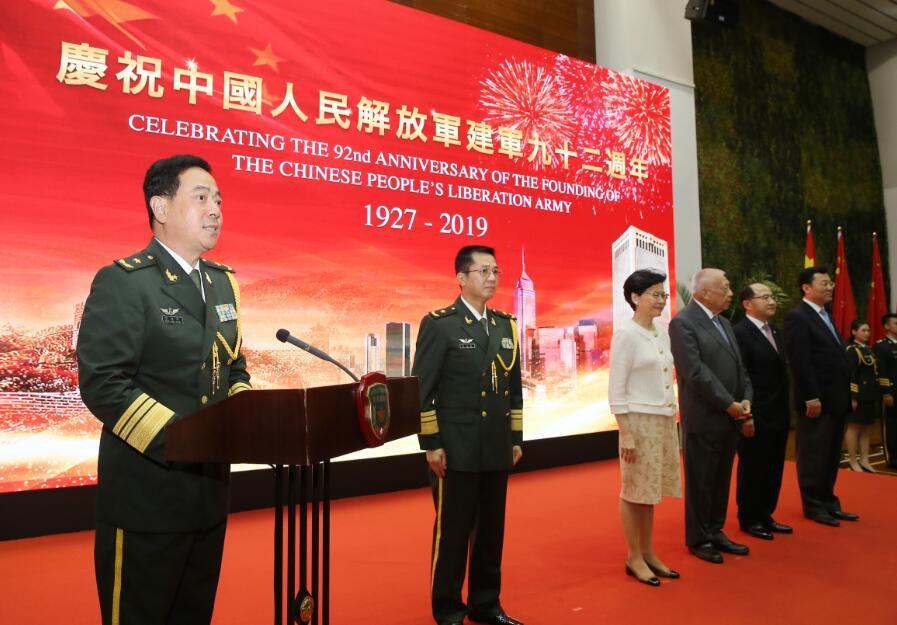 駐港部隊司令員陳道祥致辭。新華社