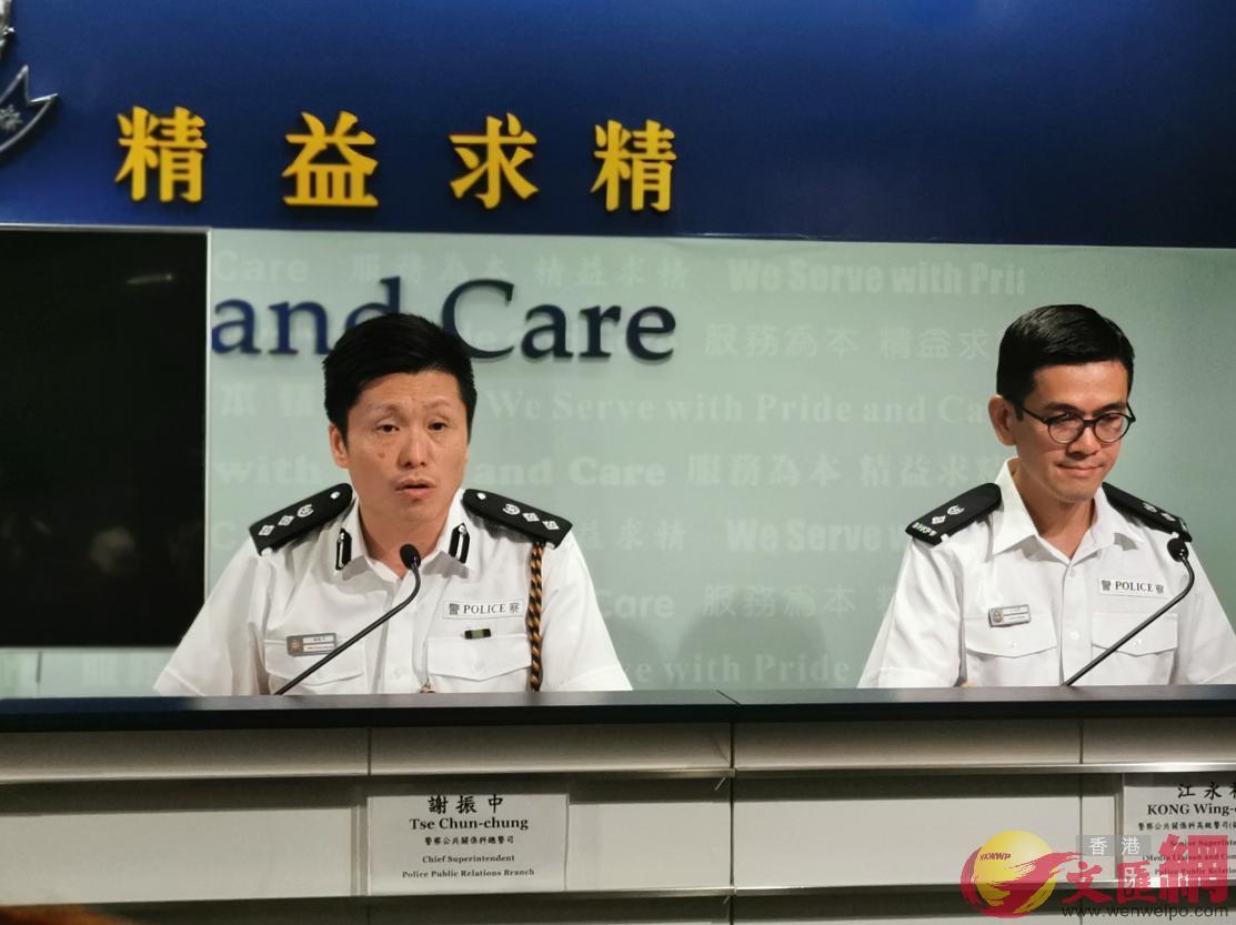 香港警方今日(13日)下午4時在警察總部召開記者會。警察公共關係科總警司謝振中出席(全媒體記者攝)
