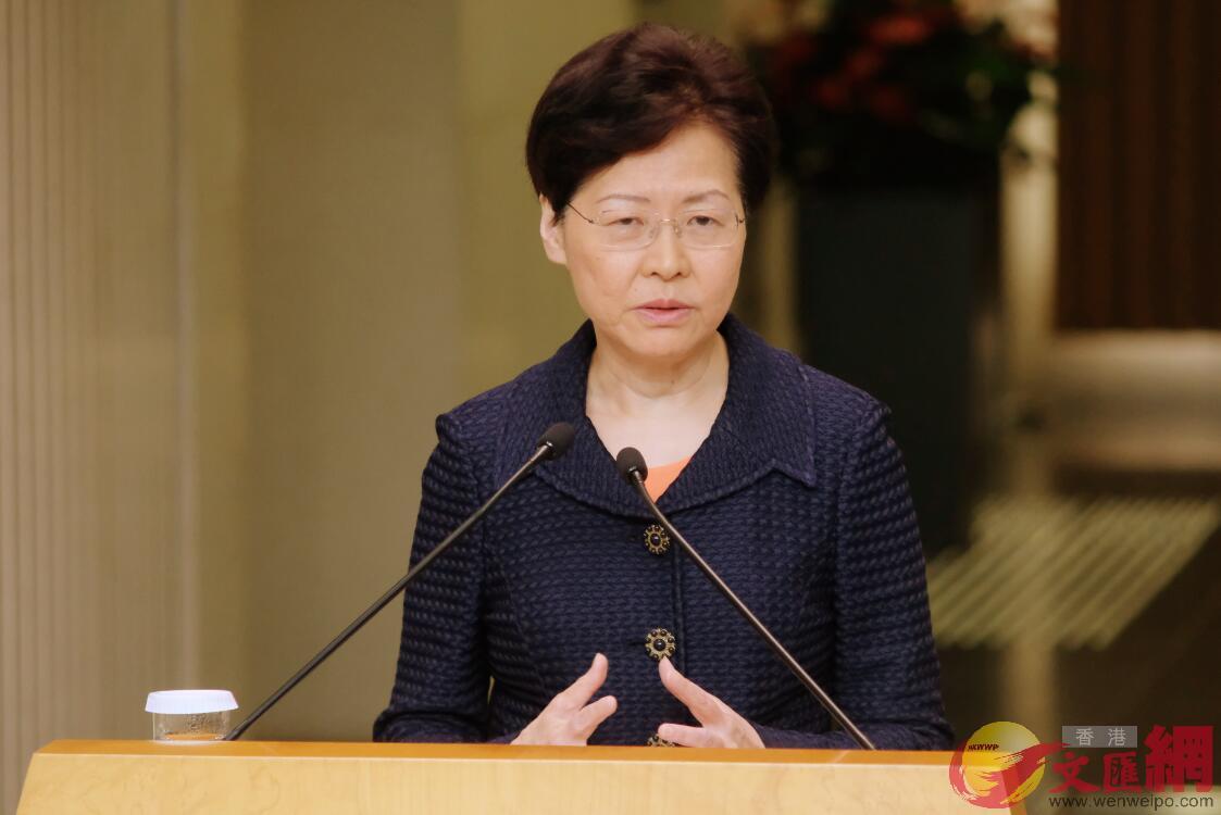 行政长官林郑月娥记者会。香港文汇报记者摄