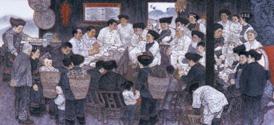 王奮英中國畫《暖心——十八洞村貧困戶精准識別公示會》