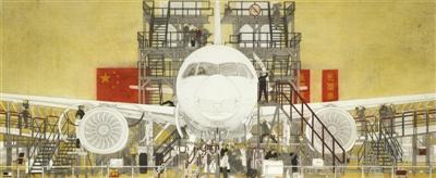 范春曉中國畫《中國制造走向世界——C919大飛機》
