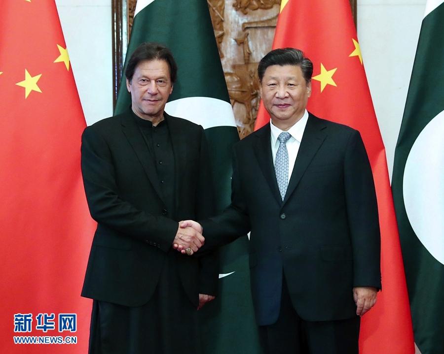 10月9日,國家主席習近平在北京釣魚台國賓館會見巴基斯坦總理伊姆蘭·汗。 新華社