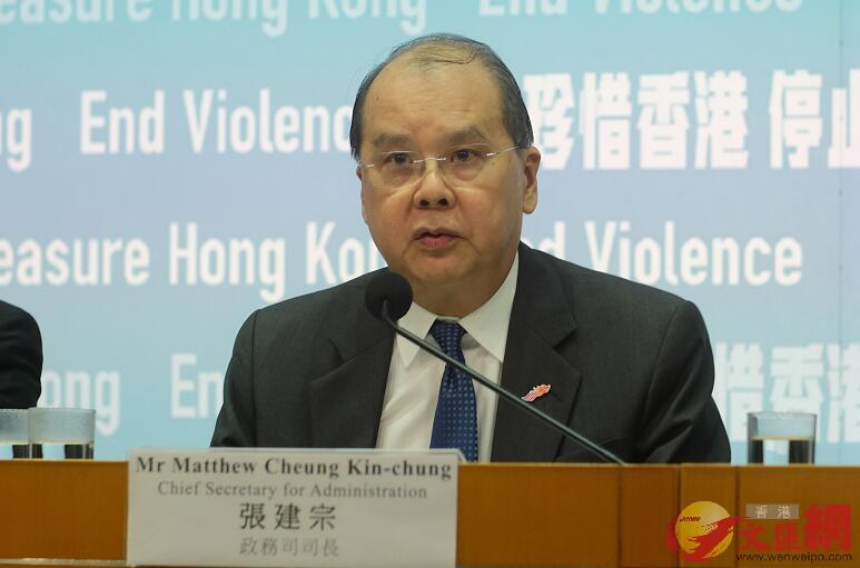 張建宗表示,警方在前線止暴制亂,工作出色,整個政府也一起發揮功能,恢復社會秩序(圖/大公文匯全媒體記者攝)