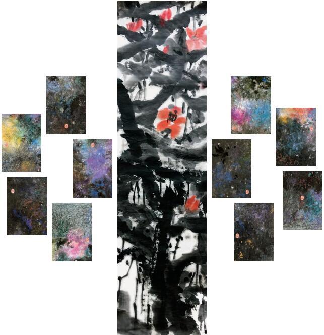 黃迪華 花志(一至十一) 水墨設色紙本136 x 36 cm 2018 23.5 x 16 cm x 10 2019