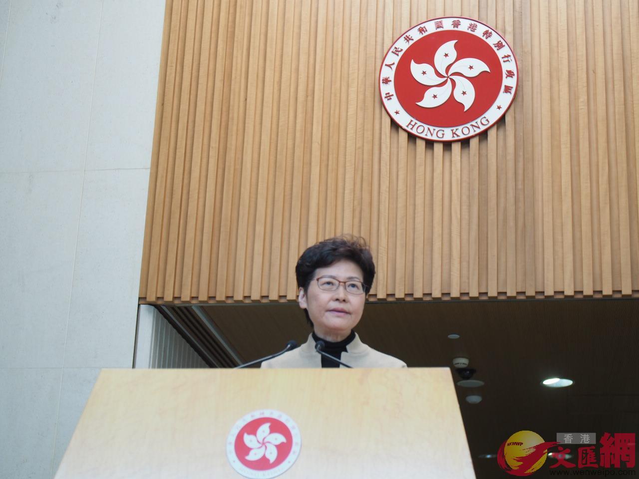 林鄭月娥表示,只有停止暴力才有公平的選舉(大公文匯全媒體記者何燊亮攝)