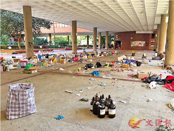 理工大學校園仍然混亂,危險品遍佈。