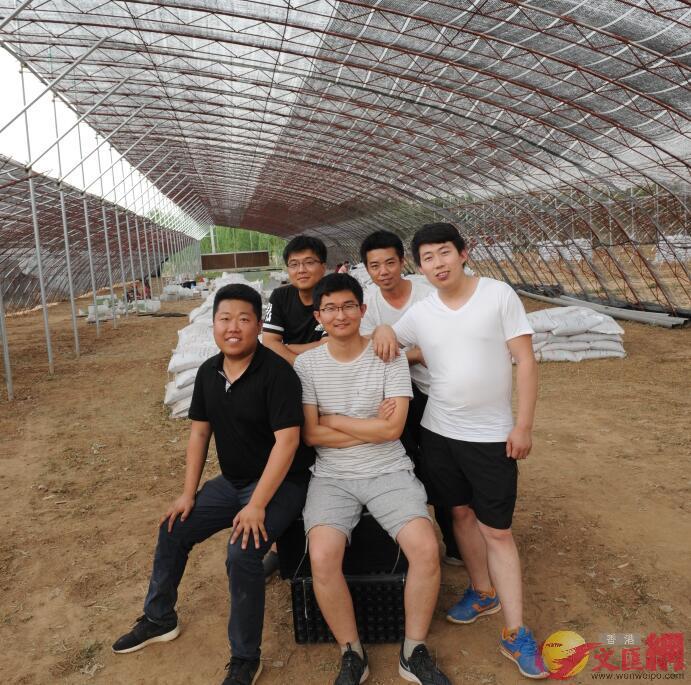 五個種多肉的男孩在基地合影。前排左起王宇、張曉東,後左起吳利彪、段孟舟、王恩茂。