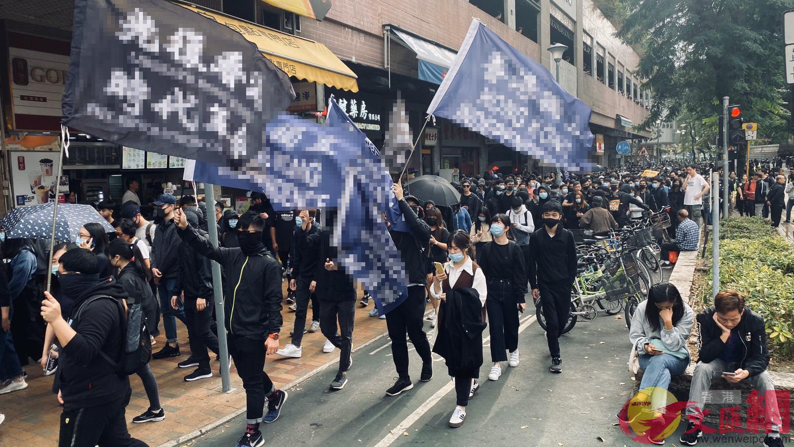 昨日(5日)由反對派發起的北區反水貨客集會及遊行,隊伍中充斥其他各類訴求旗幟。