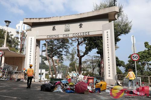 港中大去年11月遭黑衣魔佔據,校園一片狼藉(香港文匯報資料圖片)
