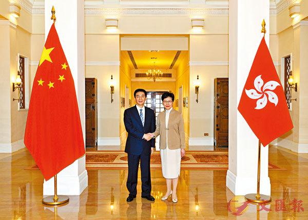 中聯辦主任駱惠寧昨日拜會特區行政長官林鄭月娥。