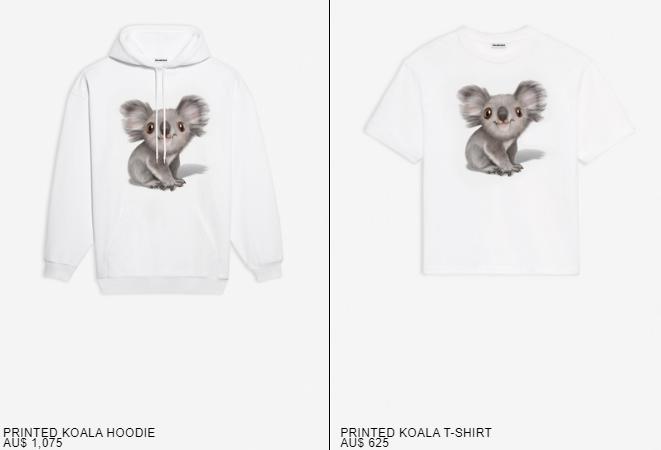 巴黎世家推出的考拉圖案衛衣和T恤