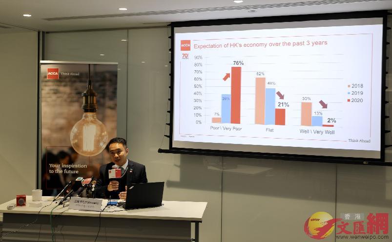 王健華表示超過四成會員認為粵港澳大灣區發展對香港帶來正面影響。(大公文匯全媒體記者李斯哲攝)