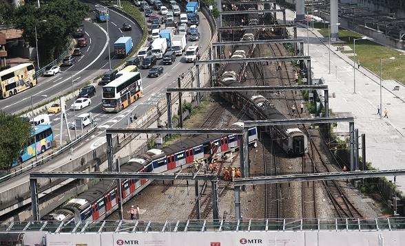 港鐵東鐵綫一列載客列車在紅磡站出軌,導致8人受傷(新華社資料圖片)