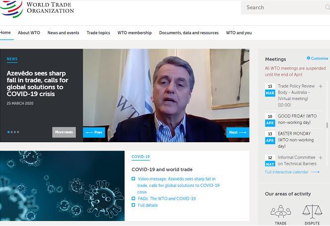 世貿組織呼籲各國共同努力應對疫情(世貿網)
