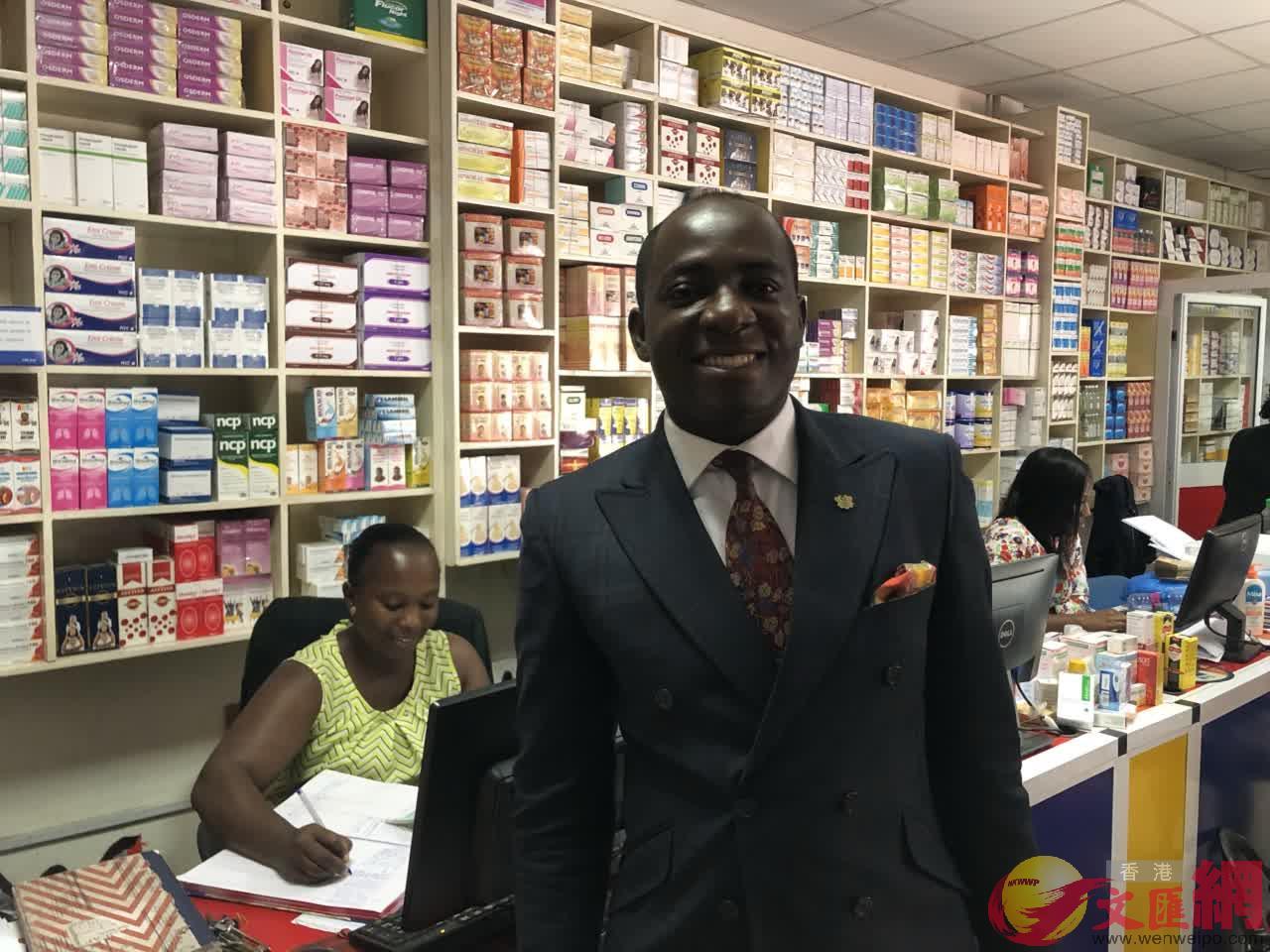 加納醫藥分銷公司老闆JUSTICE(記者 李理 攝)
