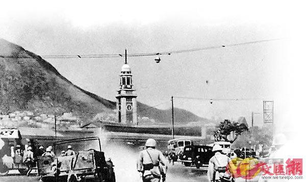 ■侵華日軍進攻尖沙咀火車站。 資料圖片