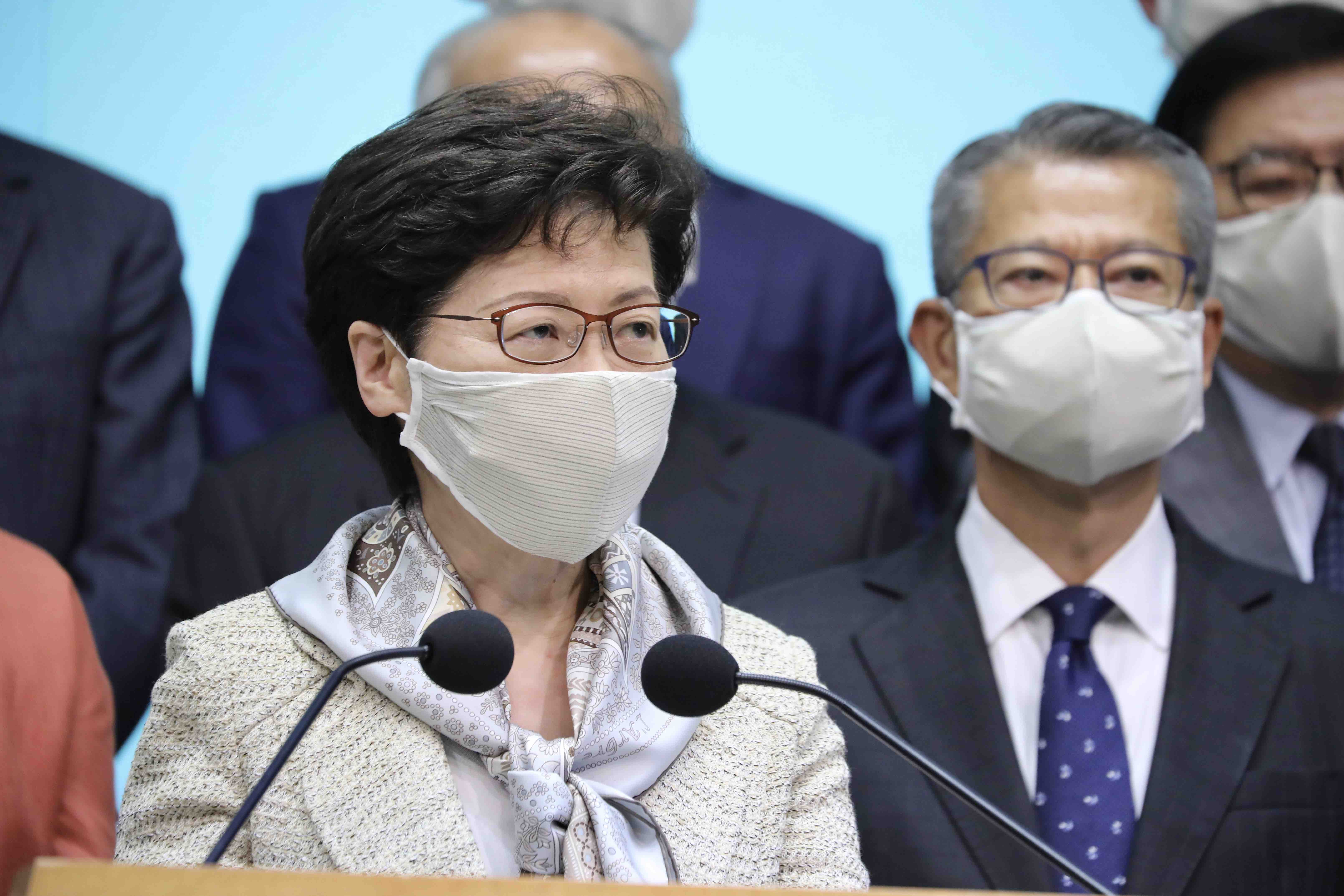 林鄭月娥坦言,看不到香港將來會自行進行23條立法。(大公文匯全媒體記者李斯哲攝)