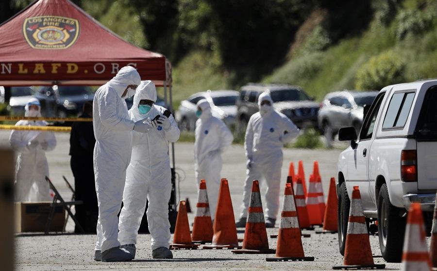 圖為美國洛杉磯的一處新冠病毒免下車檢測站(新華社資料圖)