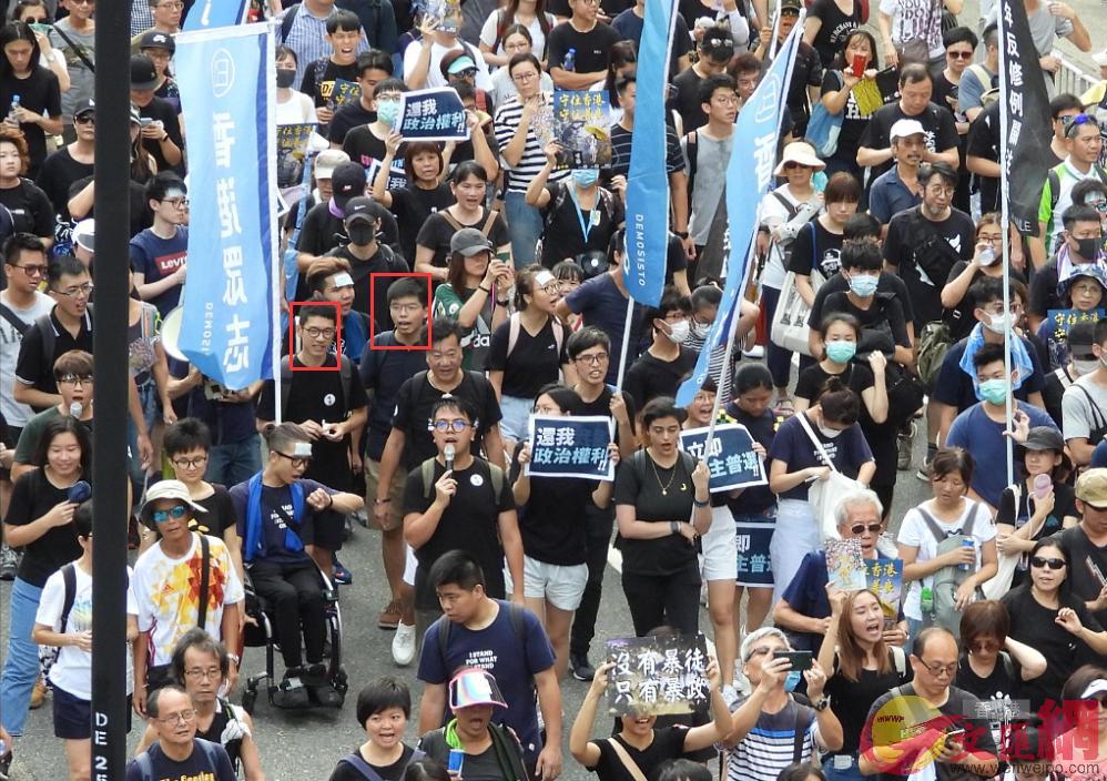 黃之鋒、羅冠聰率隊參加示威遊行(香港文匯報資料圖)