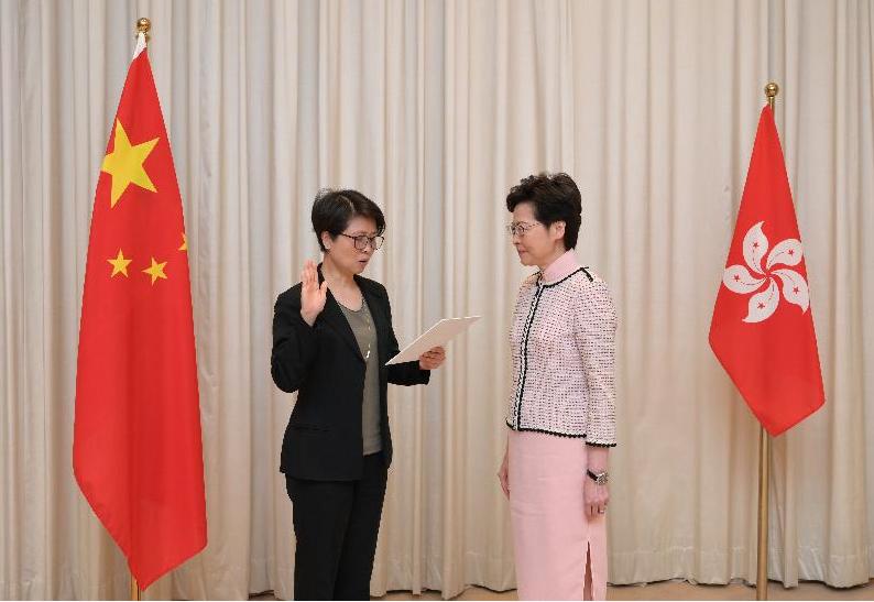 劉賜蕙昨日已宣誓出任警務處國家安全處的負責人。(政府新聞處)