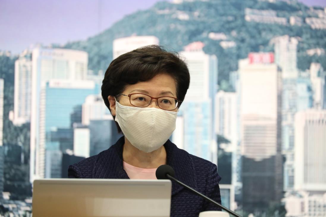 林鄭月娥表示,中央政府支持特區押後立法會選舉的決定(記者李斯哲攝)