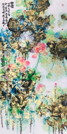 林天行 畫作《聖荷》 138x70cm 該作品以荷之崇高神聖與無畏精神,喻戰鬥在疫情前綫的白衣戰士。