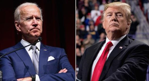 美國共和黨籍的特朗普和民主黨籍的前副總統拜登(左),都表示不會出席所屬政黨的全國代表大會。(網絡圖片)