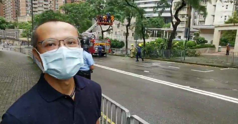 西貢區區議員張展鵬到場視察(大公文匯全媒體中心圖片)