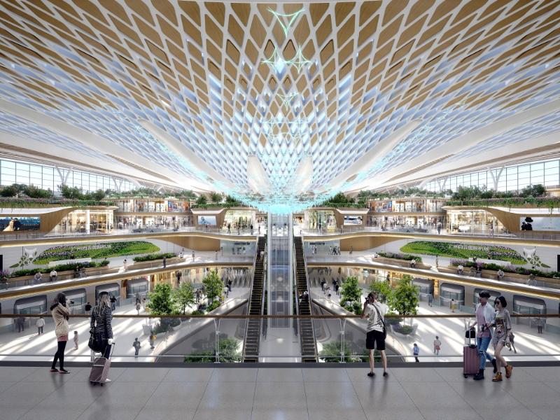 白雲機場三期擴建主體工程總投資達544.2億元,將引領未來機場發展智慧設計。(設計圖)