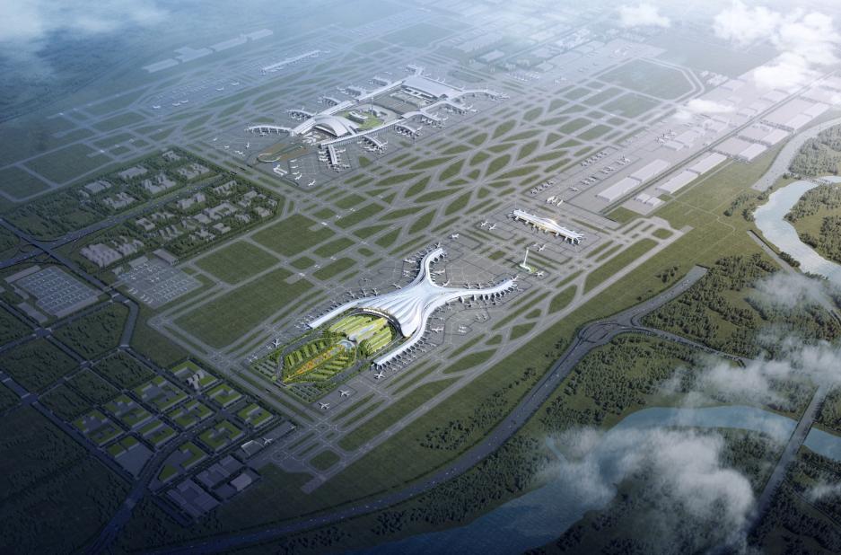 白雲機場三期擴建主體工程擬9月底開建,圖近處為新建T3航站樓、遠處為既有T1、T2。(設計圖)