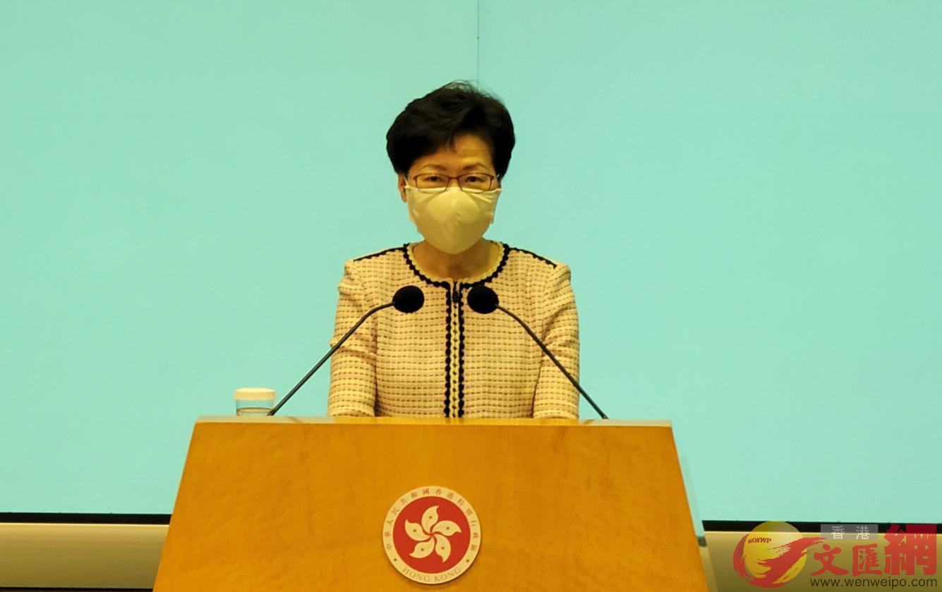 林鄭月娥呼籲市民盡快預約參加普檢。(大公文匯全媒體記者 攝)